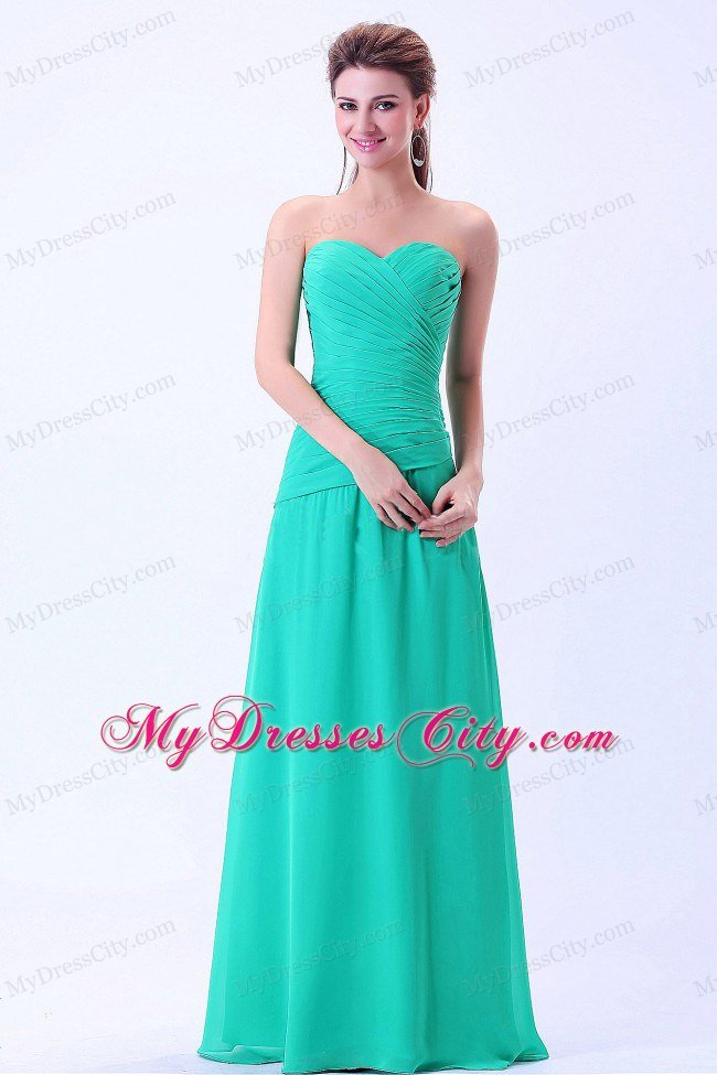 Sweetheart Turquoise Chiffon Evening Maxi Dresses Ruched ...