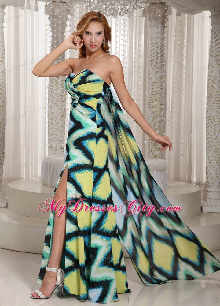 High Slit Multi-color Evening Maxi Dresses with Watteau Train ...