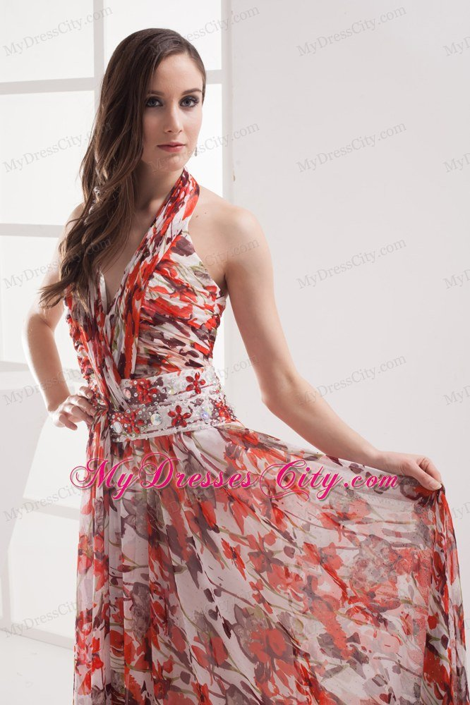 5b5455b51a5f ... Shining Multi-color Empire Halter Printing Maxi Celebrity Dress ...