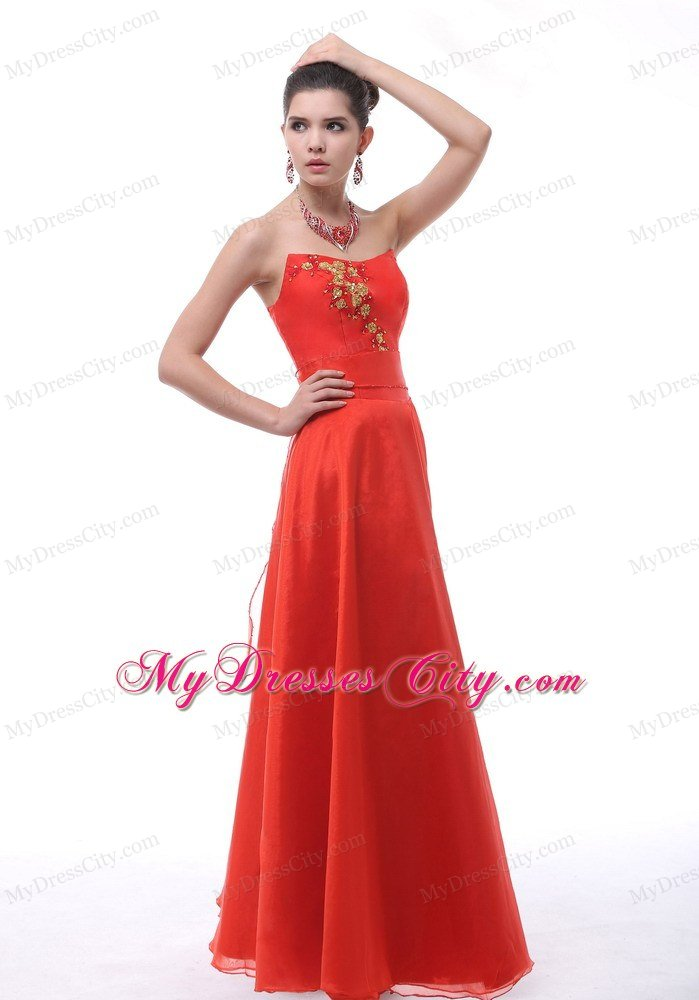 A-line Red Embroidery Organza Prom Dress with Cool Neckline ...