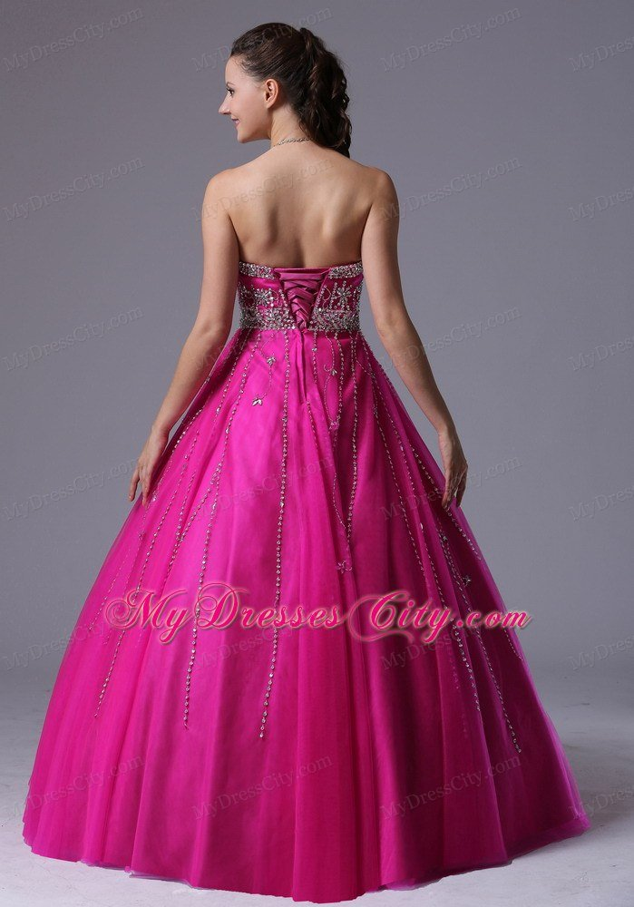 Fuchsia Beaded Sweetheart Corset Back Tulle Prom Dress 2014 ...