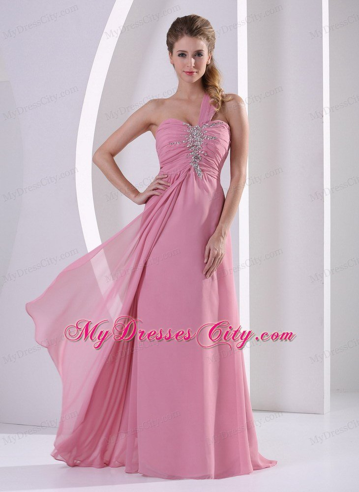 One Shoulder Chiffon Ruched Prom Evening Dress Rose Pink ...
