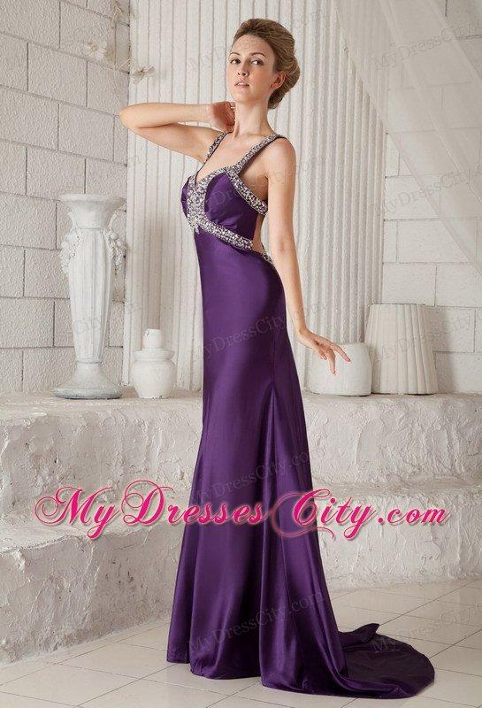 Eggplant Purple Mermaid Straps Brush Train Beaded Prom ...