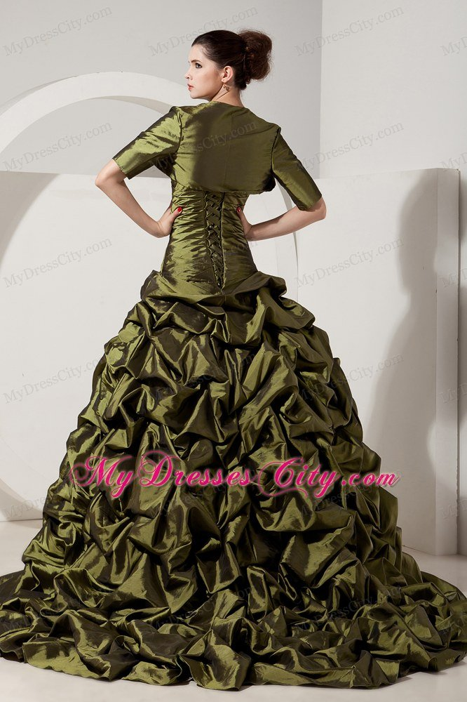 pretty olive green aline pickups prom dress with jacket