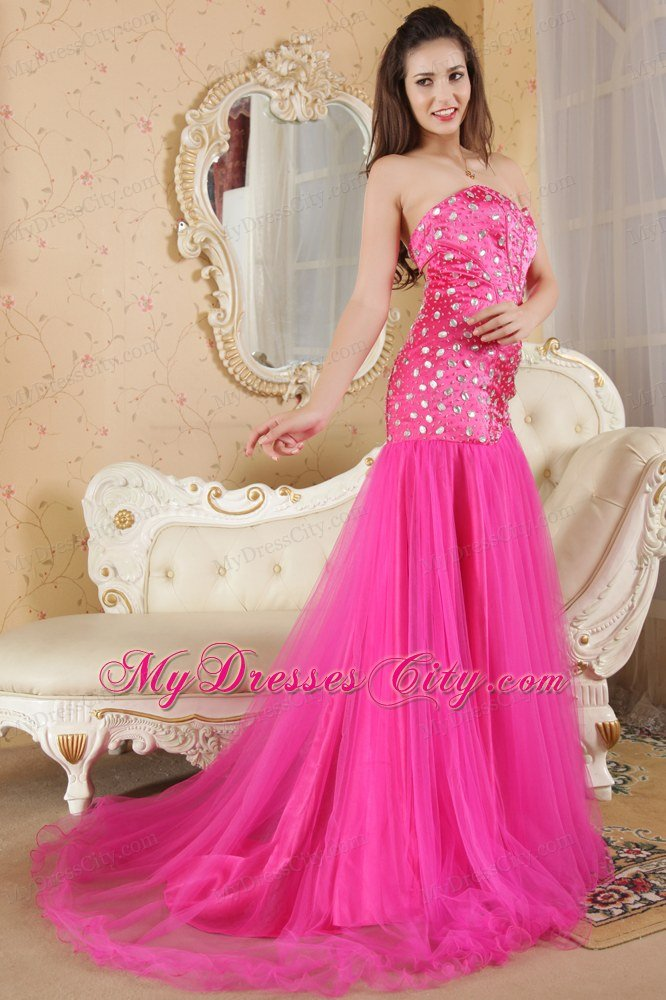 Hot Pink Strapless Prom Dresses