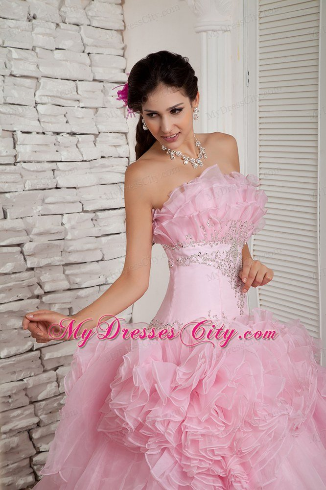 Hand Flower Baby Pink Long Prom Dress A-line Strapless Beading ...