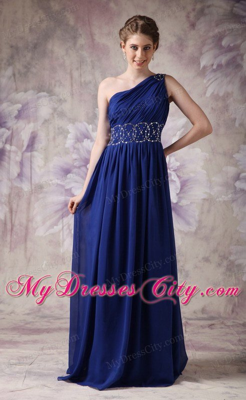 One Shoulder Ruching Navy Blue Chiffon Beading Prom Dresses