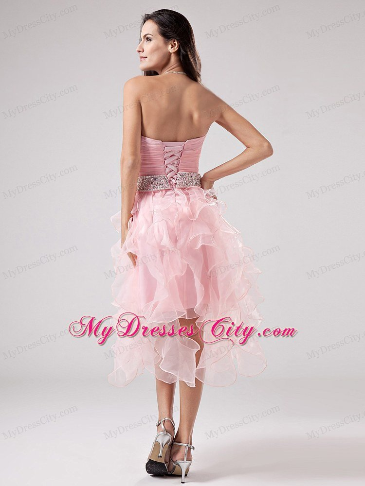 Beaded Sweetheart Ruffles Organza Asymmetrical Baby Pink Prom Dress