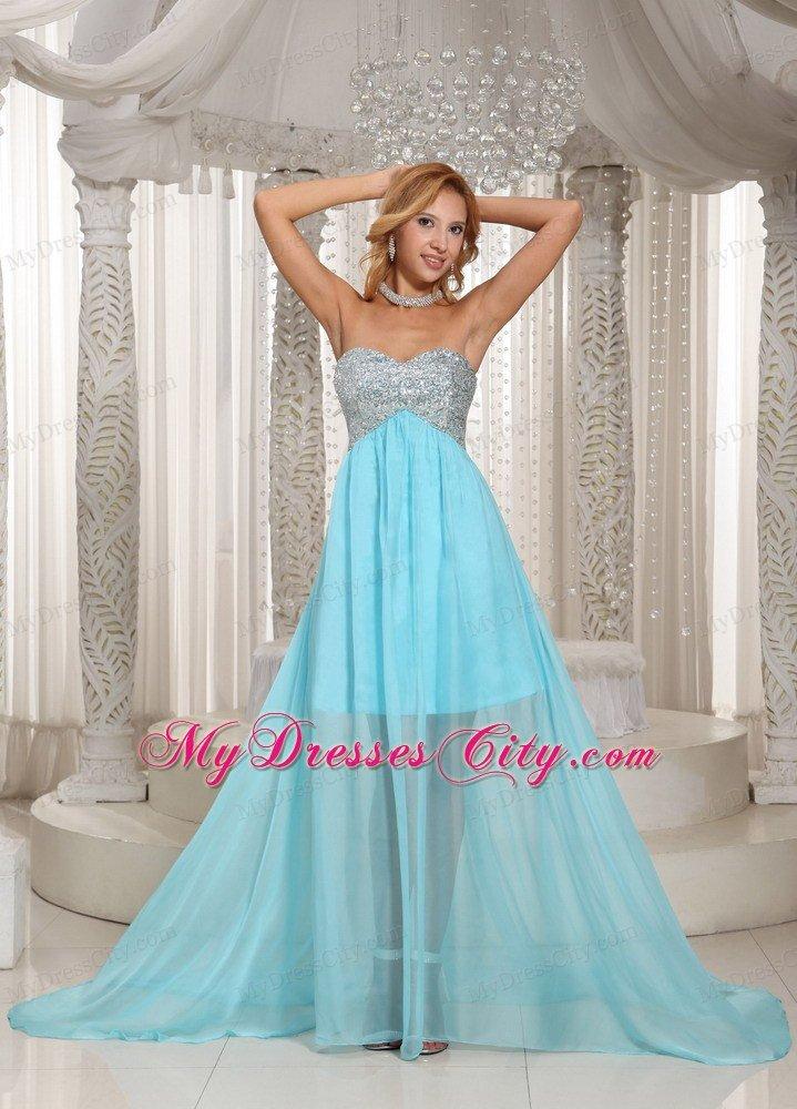 Aqua Blue Custom Made Beaded Prom Dress With Sweetheart ...