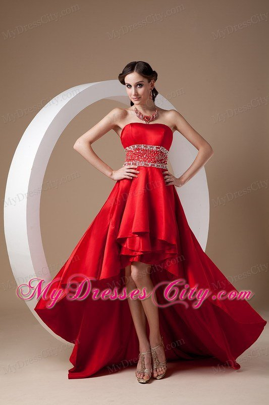 High-low Red A-line Beading Prom Dress with Elastic Wove Satin ...