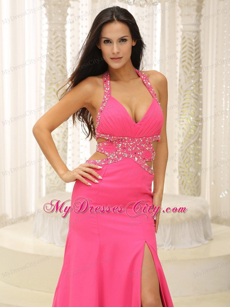 Hot Pink Halter Beaded Decorate Prom Dress with Cut Out Waist ...