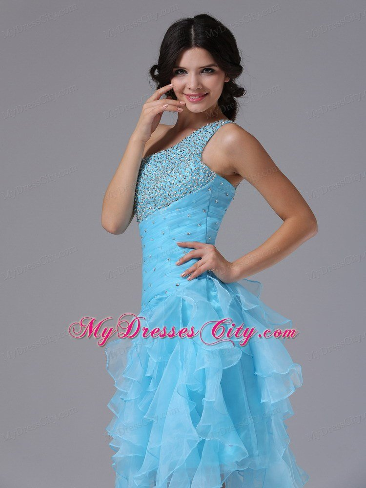 High Low Beading Decorated Bust One Shoulder Prom Dress