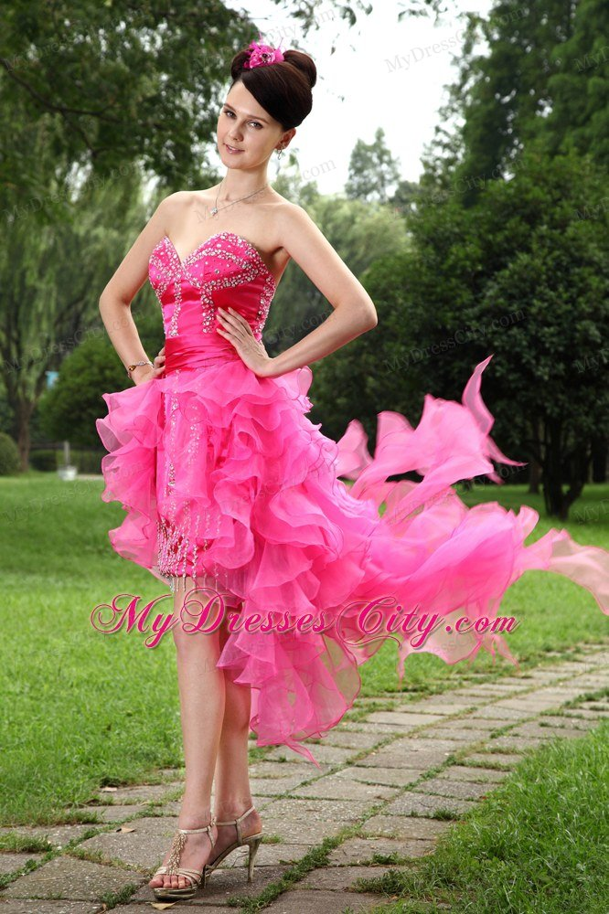 Sweetheart Beaded Ruffles Sexy Hot Pink High-low Prom Dresses ...