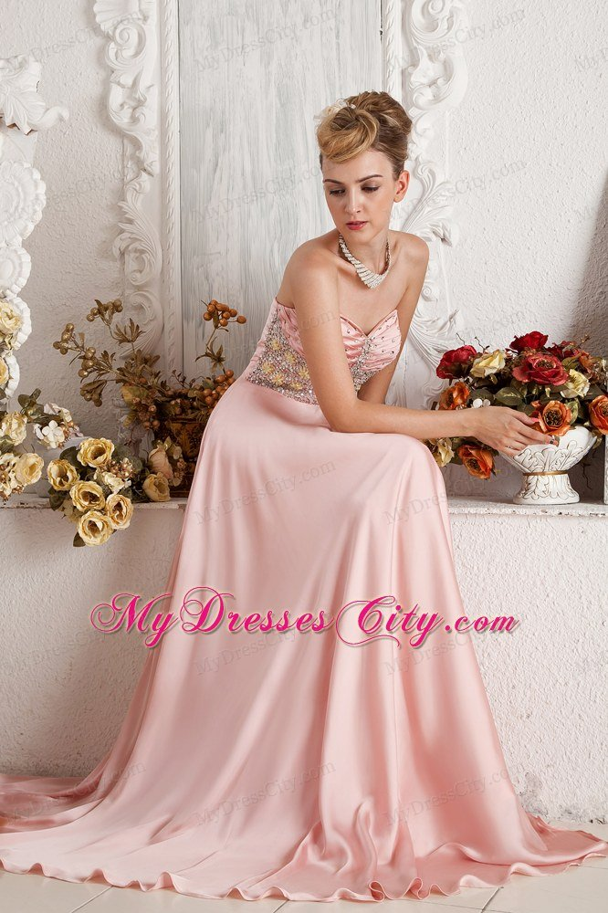 Baby Pink High Slit Sweetheart Beading Prom Dress with Brush Train