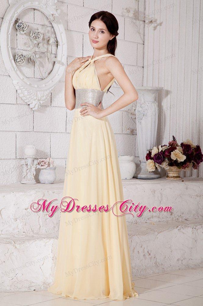 Empire Straps Chiffon Light Yellow Prom Dress With Silver Belt ...