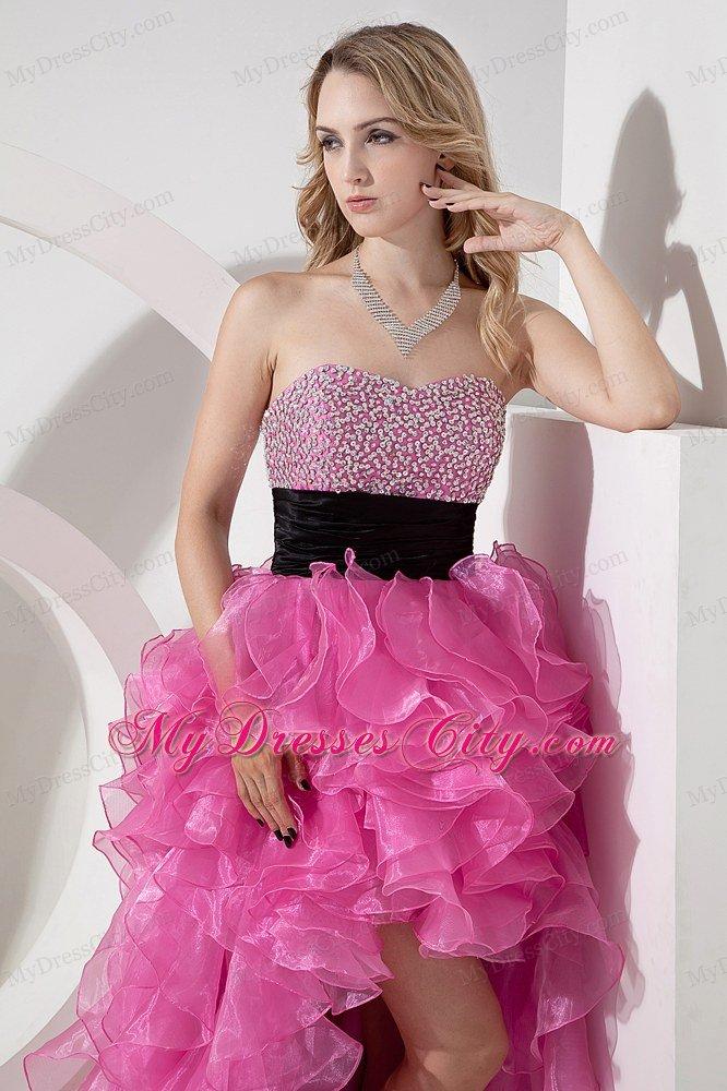 Sweetheart Organza Beading Ruffled Rose Pink High-low Prom Dress ...