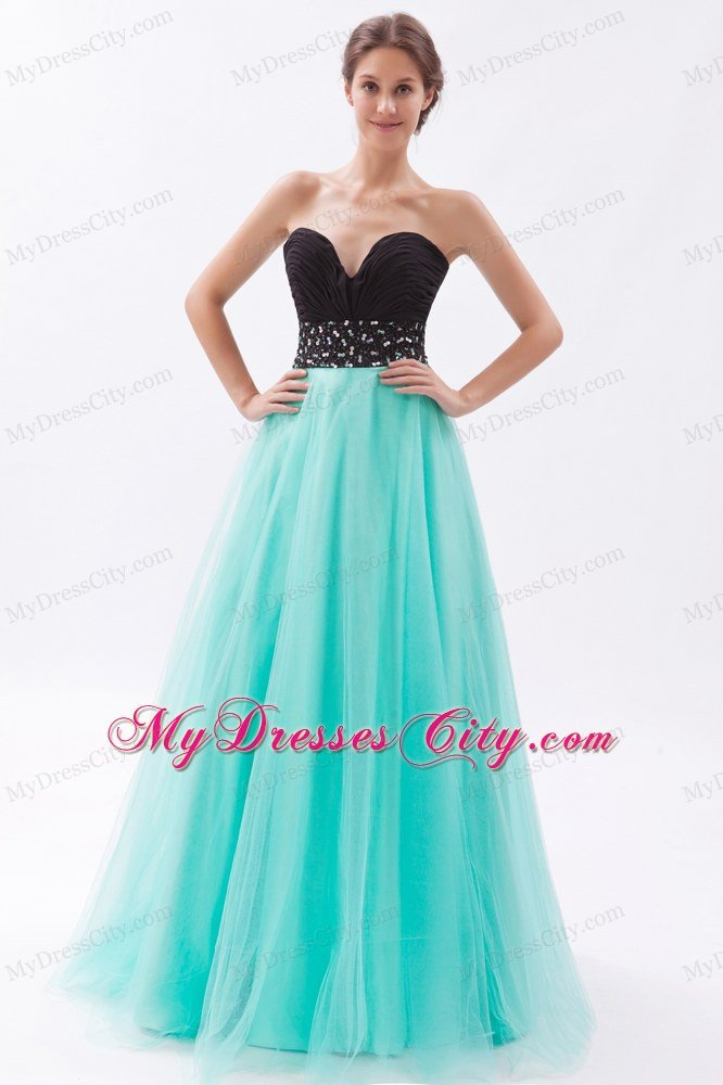 Sweetheart A-line Tulle Beading Ruches Black and Blue Prom Dress ...