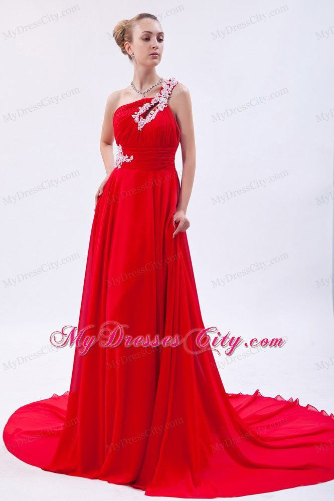 One Shoulder Court Train Chiffon Appliques Red Prom Gowns 2013 ...