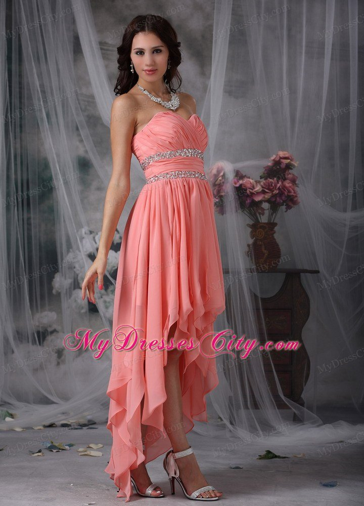 High-low Beaded Peach Red Column Sweetheart Prom Dress - MyDressCity.com