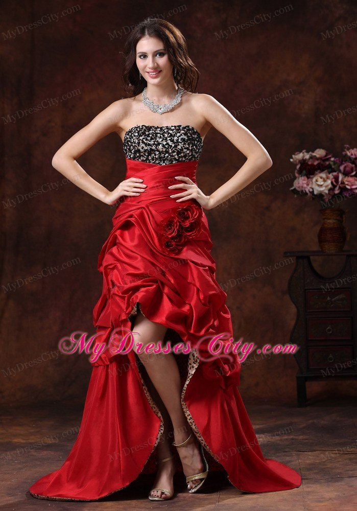 Red Leopard Beaded Bust High Low Prom Dress With Flowers