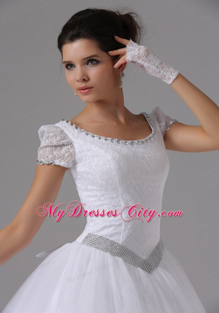 scoop neck short sleeved wedding dress