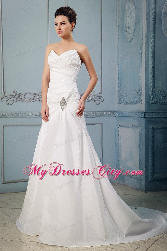Simple Princess Sweetheart Appliques and Ruched Wedding Dress ...