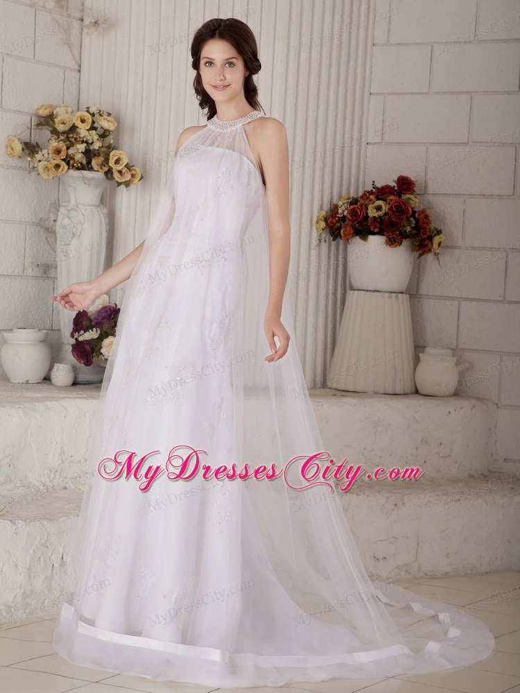 Column high neck beading criss cross back wedding dress for Cross back wedding dress