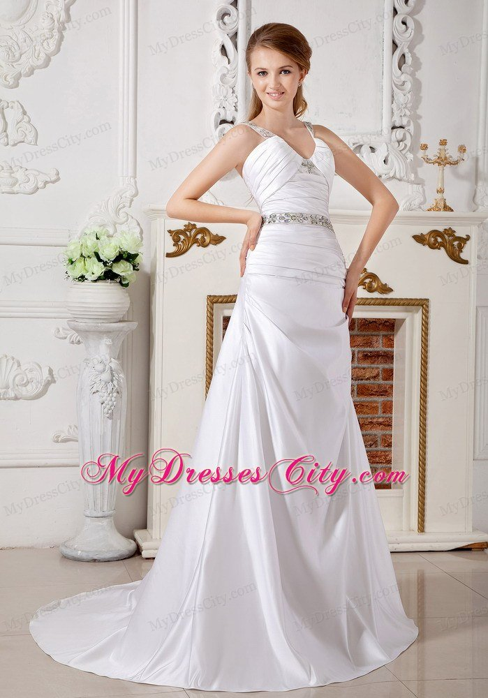 A line v neck beaded straps and waist ruched bridal dress for Wedding dress large bust small waist
