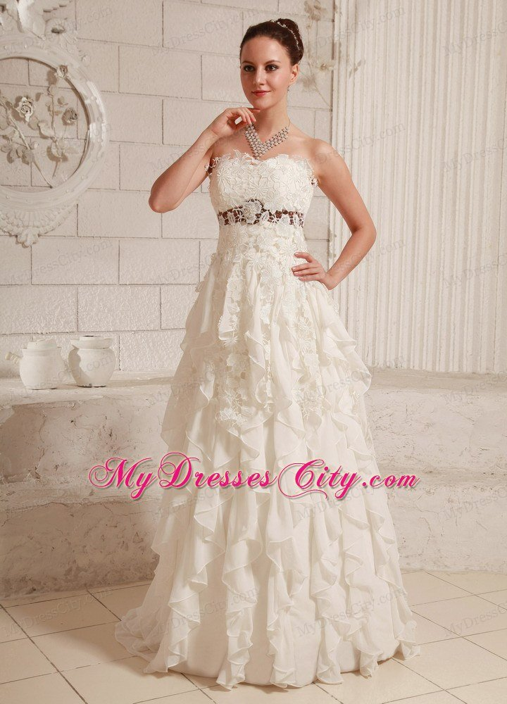 pretty lace and chiffon ruffled a line wedding dress with brush train