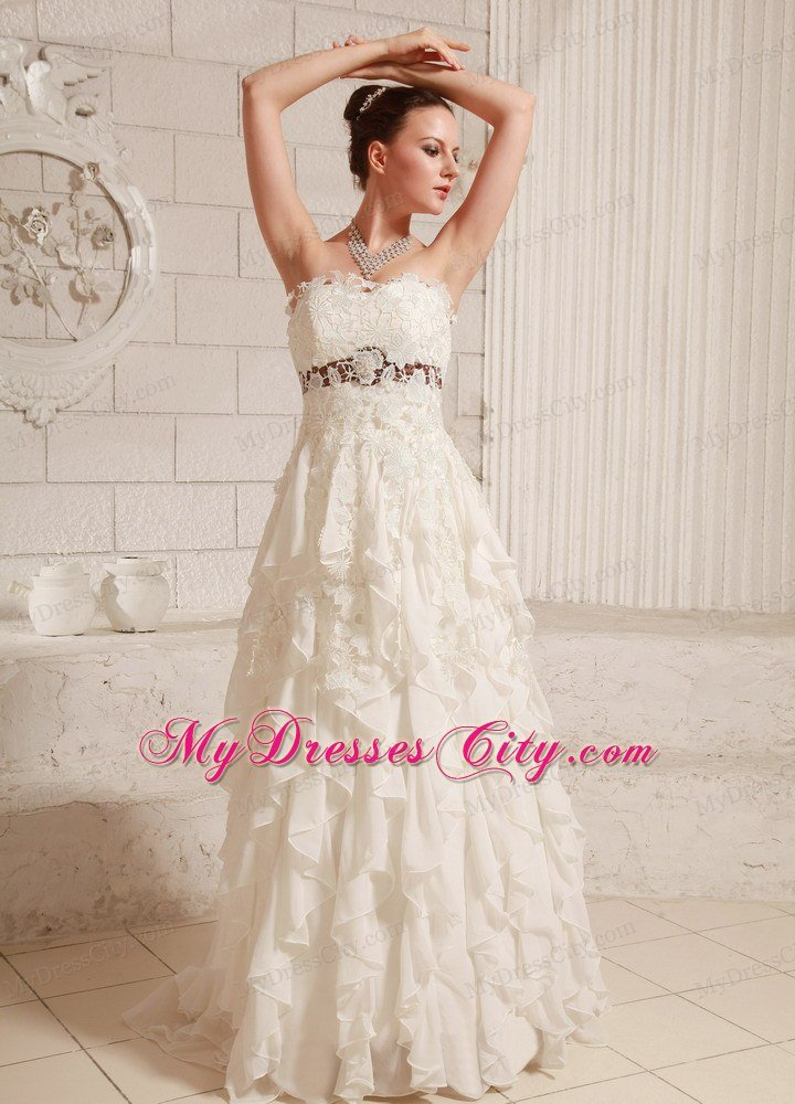 Pretty Lace and Chiffon Ruffled A-line Wedding Dress With Brush Train