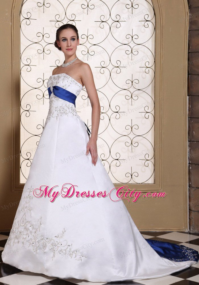 Lovely Embroidery And Beading Wedding Dress With Blue Train Sash