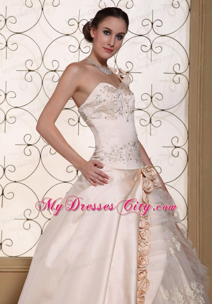 One Shoulder Champagne Wedding Gown With Flowers And Embroidery