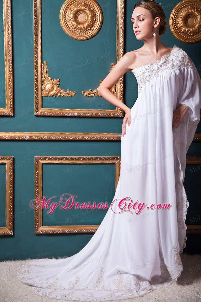 One Shoulder sleeves Chiffon Appliques Maternity Wedding Dress ...