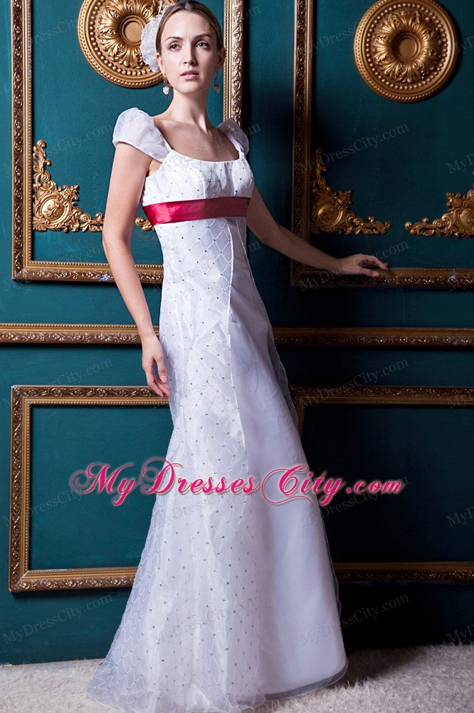 Cap Sleeves Square Lace Wedding Dress with Wine Red Sash ...