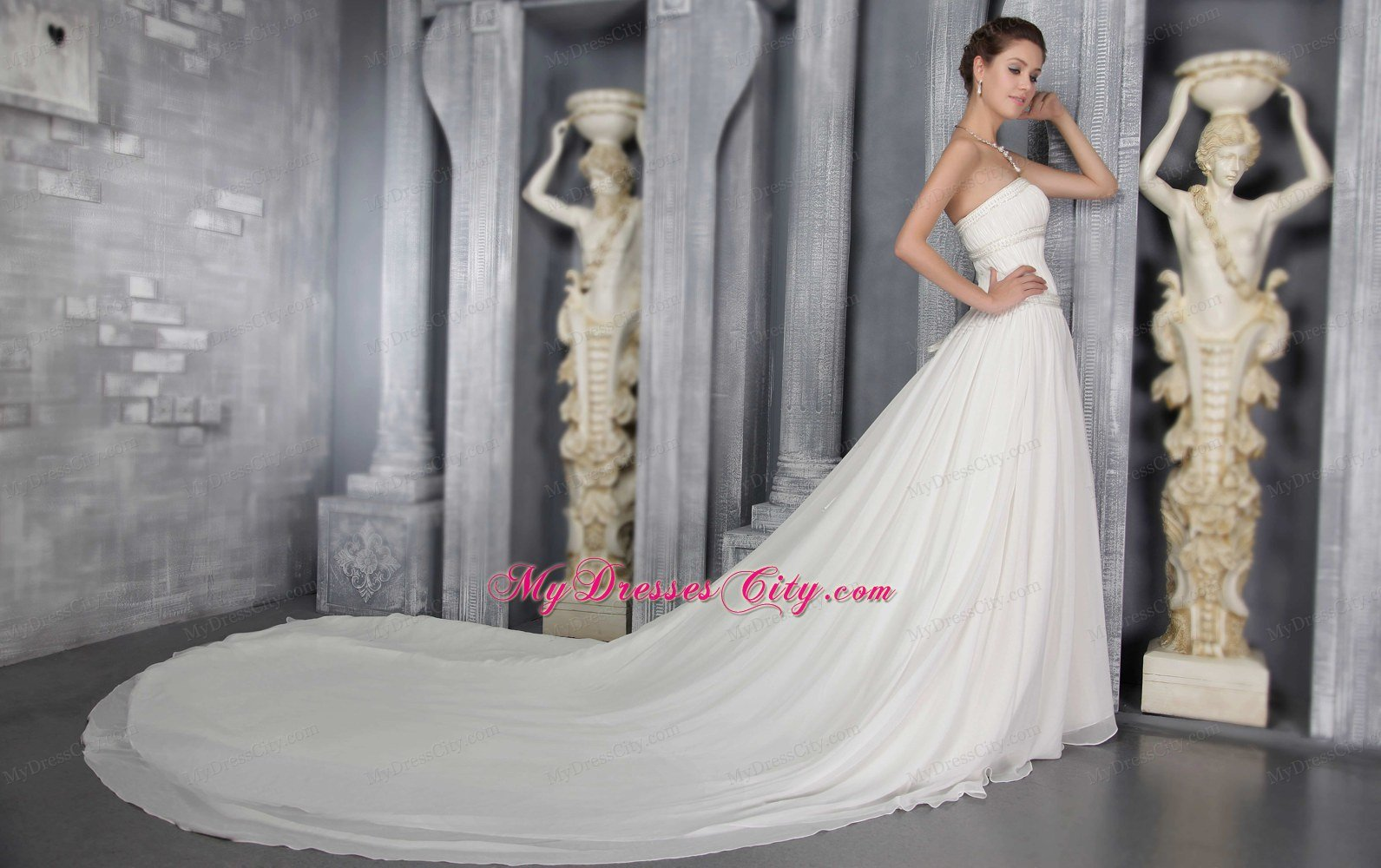 Pleated Cathedral Train Elegant Wedding Dresses with