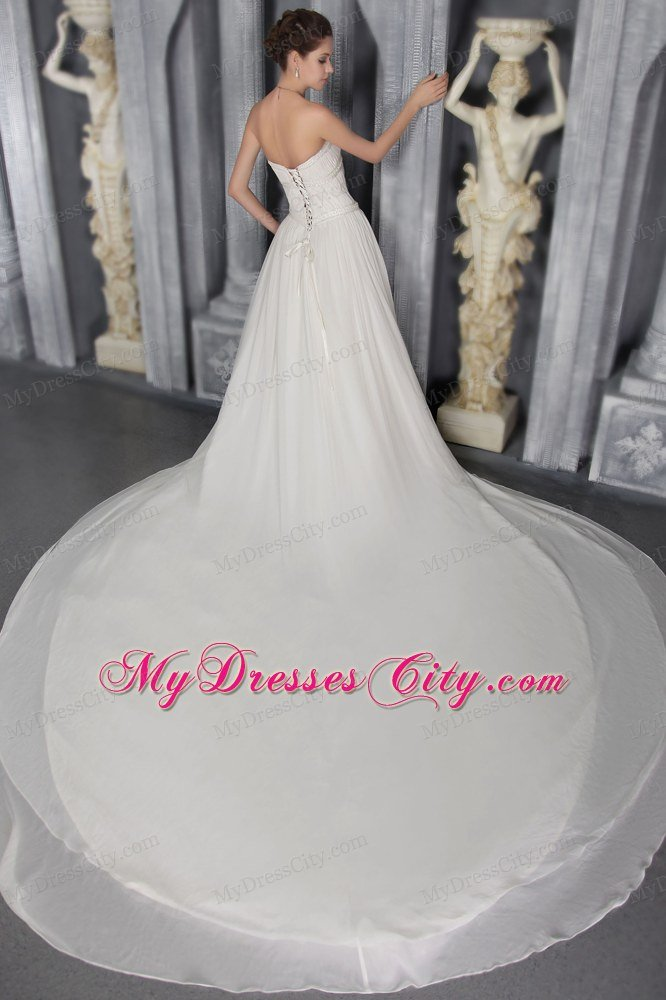 Pleated Cathedral Train Elegant Wedding Dresses With Diamonds