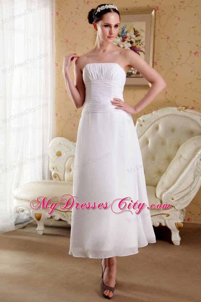 Simple strapless empire ankle length ruched wedding gowns for Simple ankle length wedding dresses