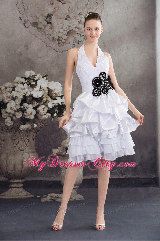 Halter Top Princess Short Wedding Reception Dress With Black Appliques