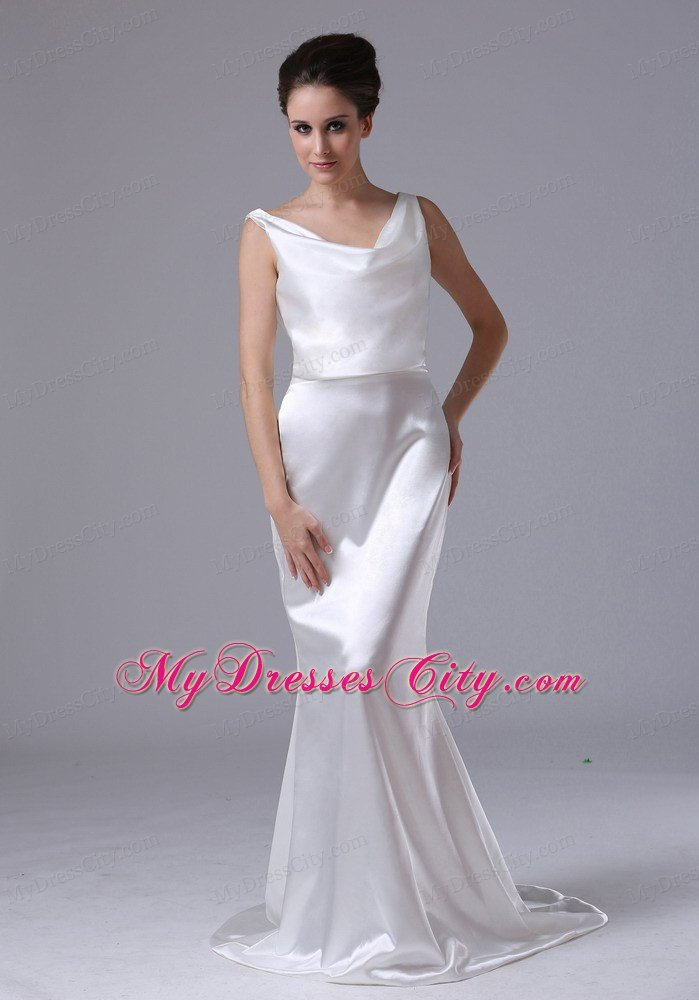Mermaid v neck simple garden outdoor wedding dresses for for Simple wedding dress for outdoor wedding