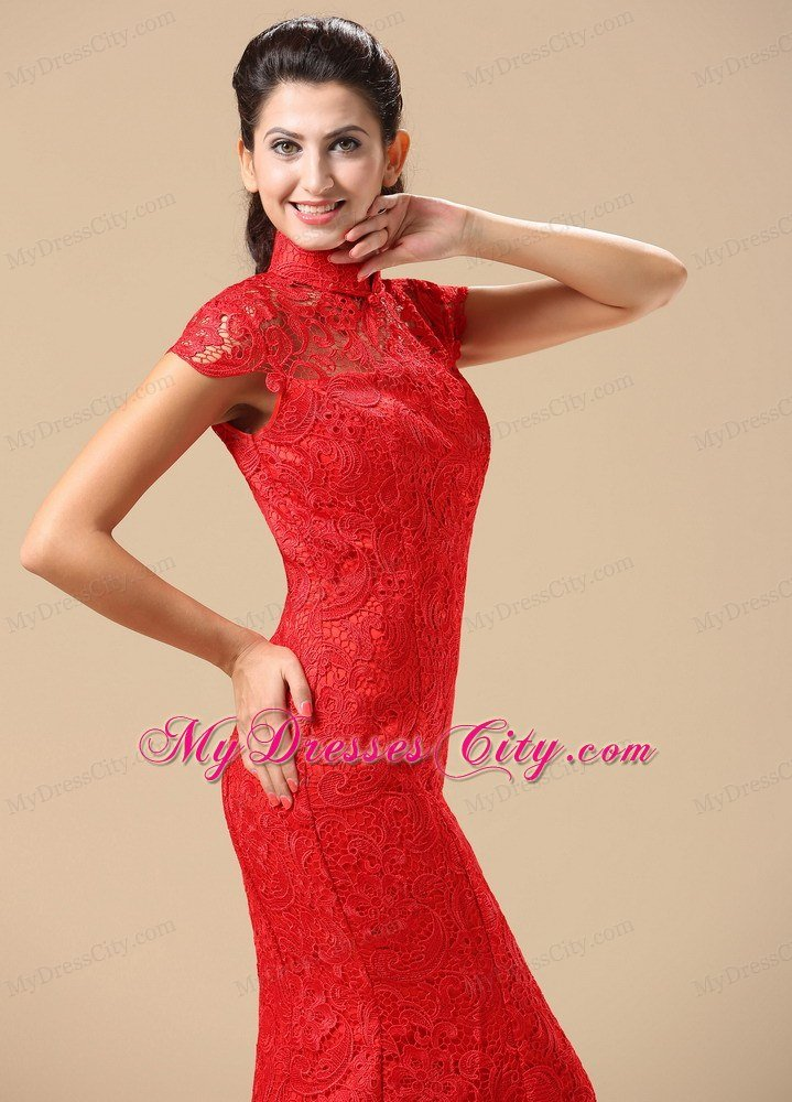 Traditional Red Lace High Neck Brush Train Wedding Dresses With Short Sleeves