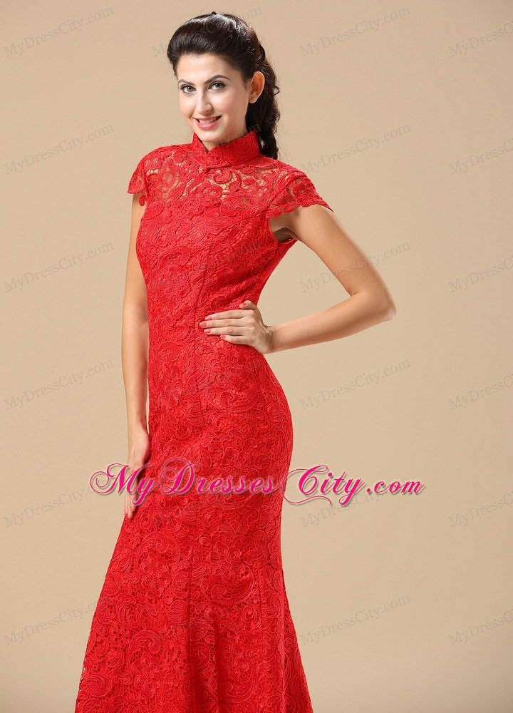 Traditional Red Lace High Neck Brush Train Wedding Dresses