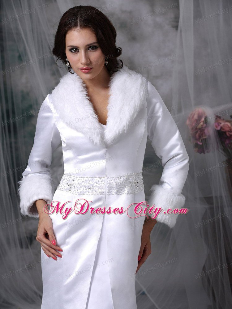 Long Sleeves Beaded Mermaid Winter Wedding Bridal Gown
