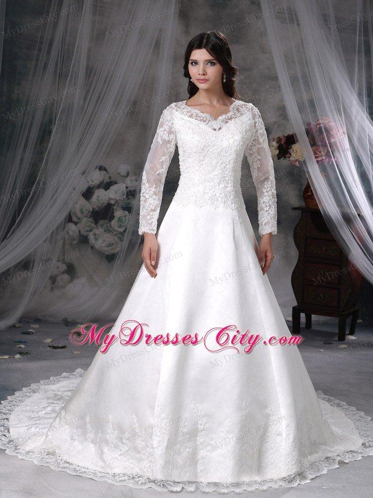 Chapel Train V Neck Lace Long Sleeves Princess Wedding Dresses For 2013