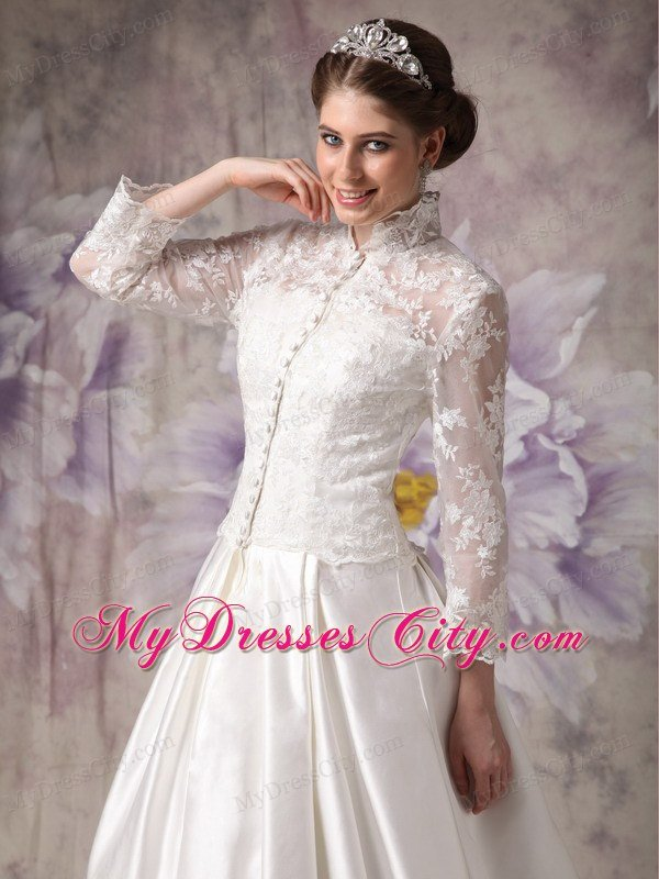 Lace High Neck Clasp Handle Wedding Anniversary Dress With Long Sleeves