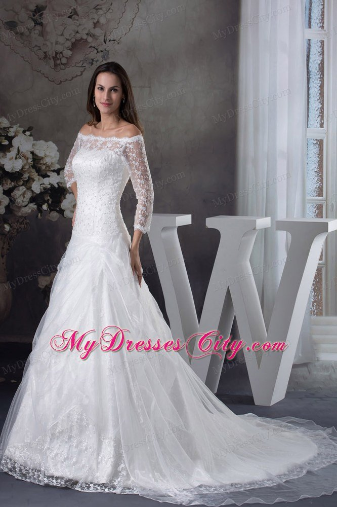 Off the shoulder lace court train wedding gowns with 3 4 length sleeves junglespirit Gallery