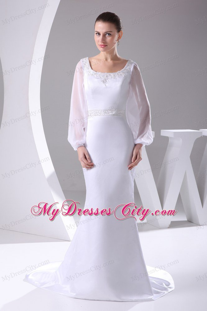 Long Sleeves Scoop Neck Court Train Beaded 2017 Wedding Anniversary Dress