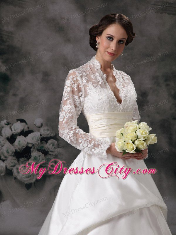 Luxurious Lace Long Sleeves A Line Church Wedding Dresses With Sheer Neckline