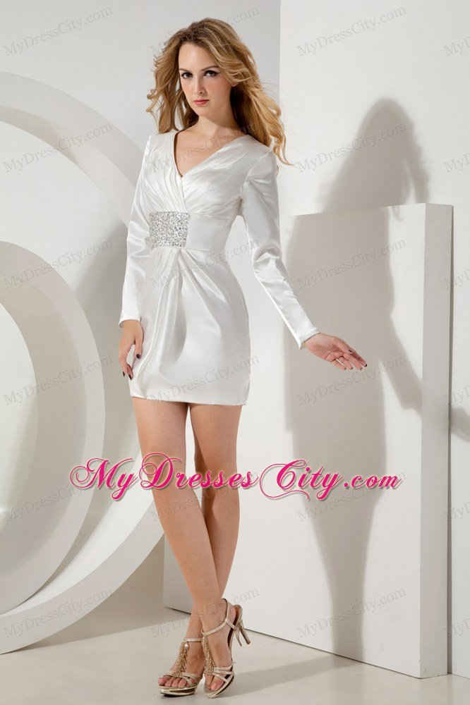 Short White Beaded V-neck Nightclub Dress with Long Sleeves ...