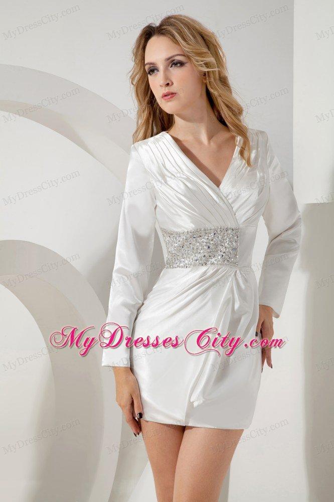 short white beaded vneck nightclub dress with long