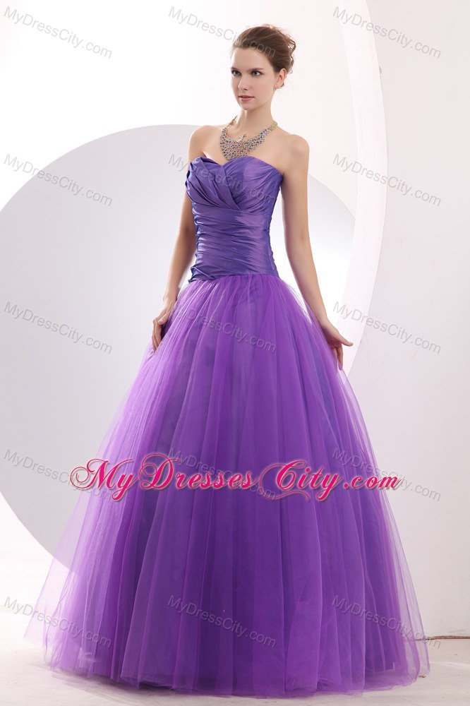 Long Purple Sweetheart Beauty Pageant Dresses with Ruches ...